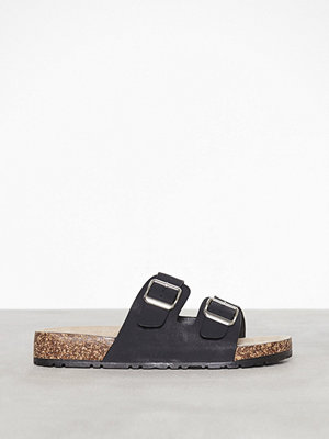 New Look Double Buckle Strap Sliders Black