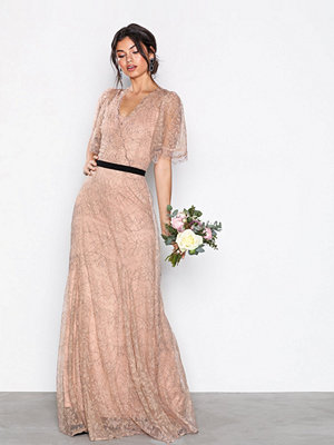 U Collection Lace Detail Maxi Dress Beige