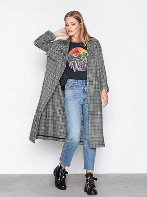 River Island Check Trench Coat Grey
