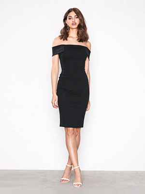 New Look Bardot Neck Scuba Midi Dress Black