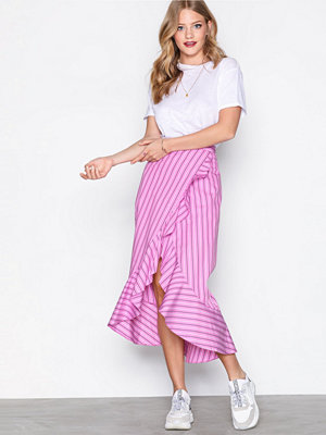 River Island Ruffle Front Stripe Skirt Pink