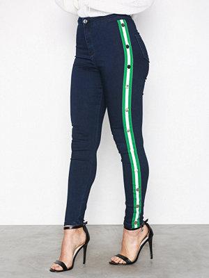 Missguided Stripe Side Skinny Jeans Indigo