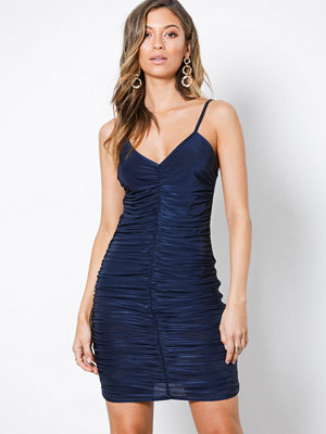 Missguided Slinky Ruched Front Mini Dress Navy