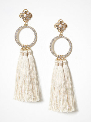 River Island örhängen Triple Tassel Drop Earrings Light Beige
