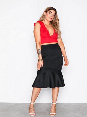 NLY One Scuba Midi Frill Skirt Svart