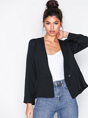 Topshop Cross Over Peplum Jacket Black