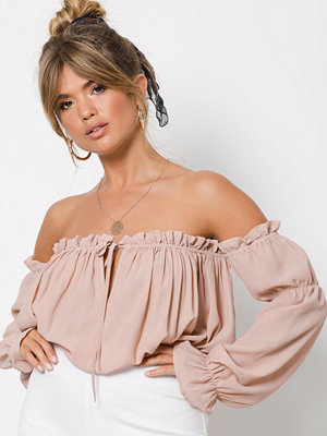 Blusar - NLY Trend Soft Off Shoulder Blouse Ljus Rosa