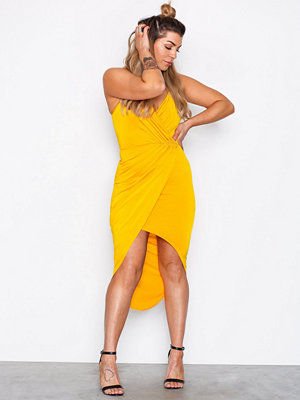 NLY One Wrap Ruched Dress Yellow