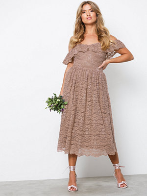 NLY Eve Heavy Lace Midi Dress Rose