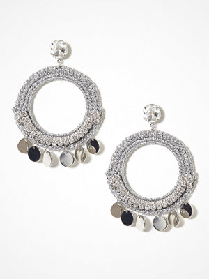 River Island örhängen Hoop Disc Drop Earrings Silver