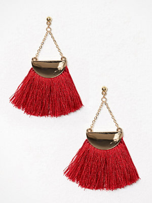 NLY Accessories örhängen Semi Circle Fringe Earrings Röd