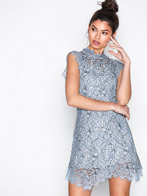 Topshop Lace Mini Flare Dress Blue