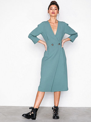 Topshop Extended Shoulder Midi Dress Green