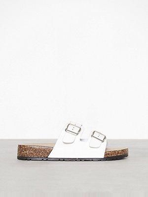 New Look Double Buckle Strap Sliders White
