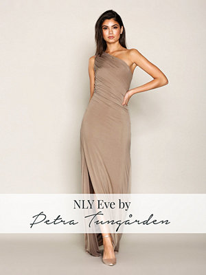 NLY Eve Draped One Shoulder Gown Beige