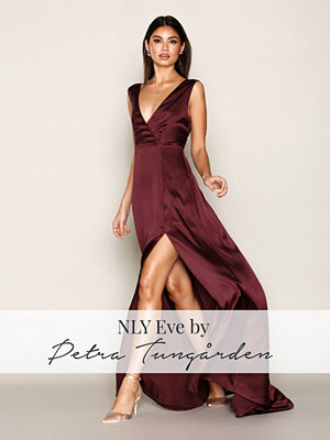 NLY Eve Bow Back Satin Gown Burgundy