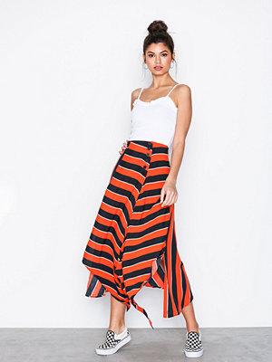Topshop Bold Stripe Hanky Hem Skirt Red