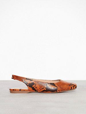 Bianco Back Strap Flat Shoe Orange