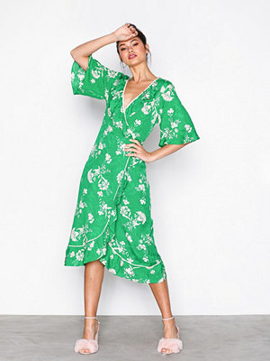 Topshop Leaf Print Ruffle Wrap Dress Green