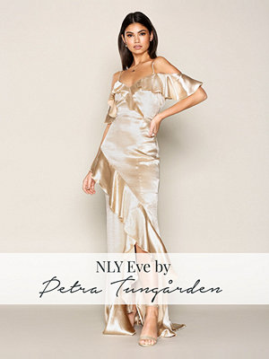 NLY Eve Satin Frill Gown Gold Champagne