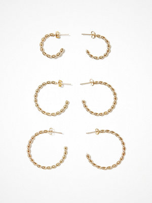 Only örhängen onlKATIE 3-Pack Twisted Hoops Acc Guld