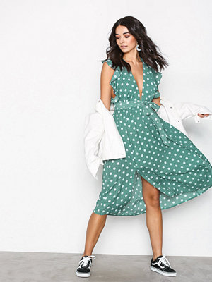 Glamorous Polka Dot Flounce Dress Green
