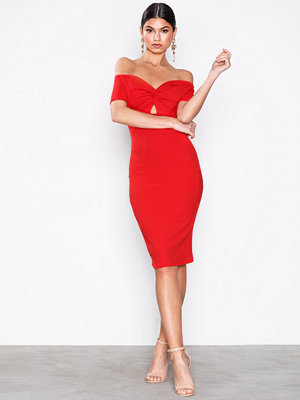 New Look Twist Front Sweetheart Bodycon Midi Dress Red