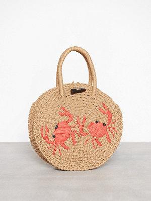 Topshop Crab Mini Round Straw Tote Bag Nature