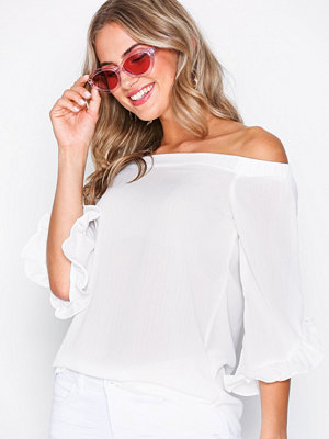 New Look Frill Cuff Longline Bardot Top White
