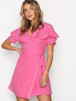 Glamorous Wrap Flounce Dress Hot Pink