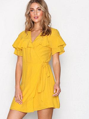 Glamorous Wrap Flounce Dress Mustard