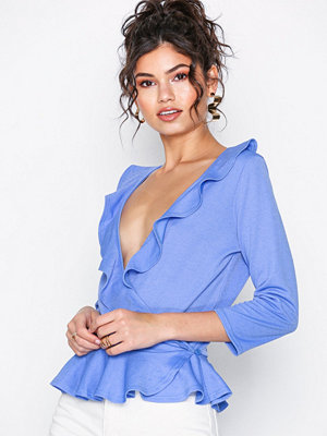 NLY Trend Frill Top Blå