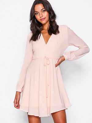 Glamorous Long Sleeve Flounce Dress Pink
