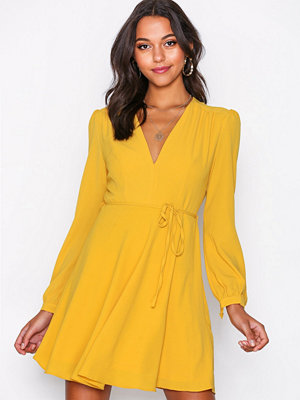 Glamorous Long Sleeve Flounce Dress Mustard