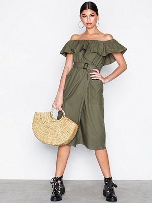 River Island Bardot Waisted Dress Khaki