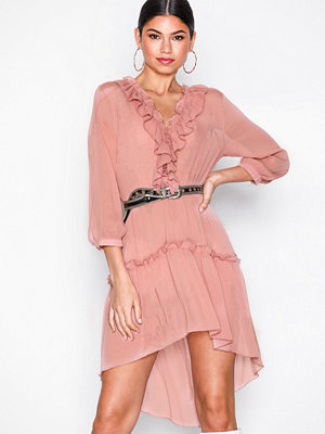 Missguided Chiffon Frill Detail Dress Pink