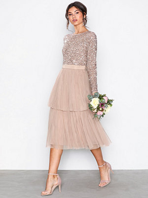 Maya Delicate Sequin Tiered Midi Dress Taupe