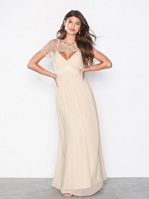 Little Mistress Detail Top Maxi Dress Beige