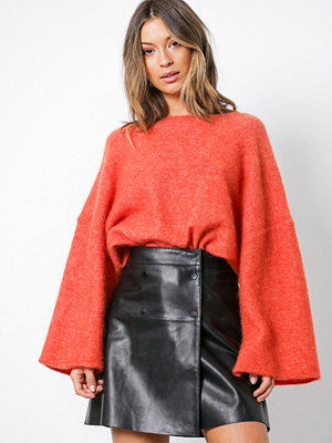 Selected Femme Sfzadig Mw Leather Skirt J Camp Svart