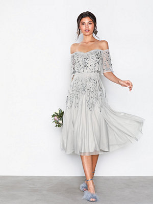 Maya Embellished Bardot Midi Dress Grey