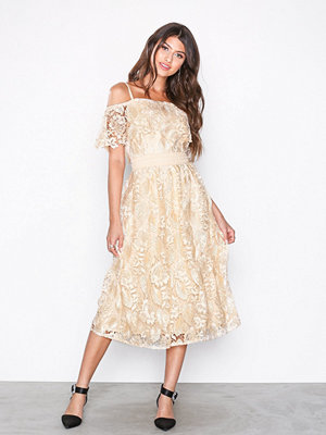 Little Mistress Cold Shoulder Lace Dress Beige