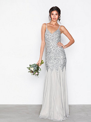 Maya All Over Sequin Godet Fishtail Cami Maxi Dress Grey