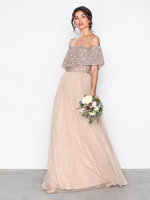 Maya Bardot Delicate Sequin Maxi Dress Taupe