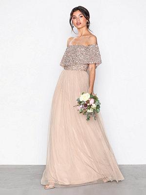 Festklänningar - Maya Bardot Delicate Sequin Maxi Dress Taupe