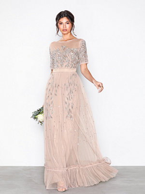 Maya Mesh Embellished Maxi Dress Taupe