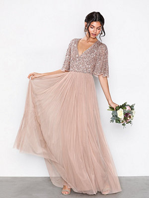 Maya V-Neck Delicate Sequin Maxi Dress