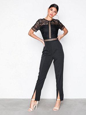 Missguided Lace Top Cigarette Trousers Jumpsuit Black