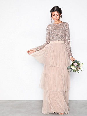 Maya Delicate Sequin Tiered Maxi Dress Taupe