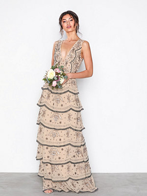 Maya Tiered All Over Embellished Maxi Dress Beige