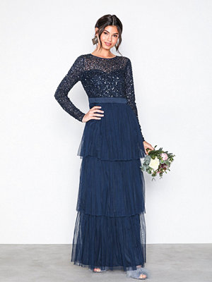 Maya Delicate Sequin Tiered Maxi Dress Navy